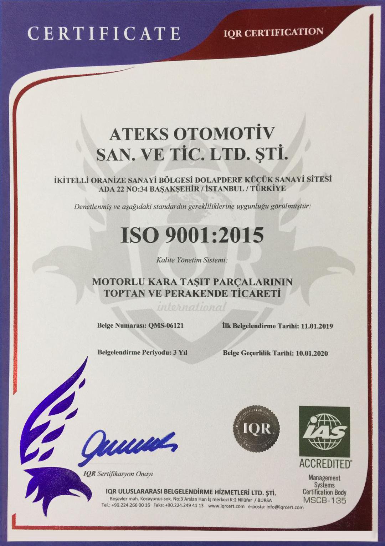 ATEX OTOMOTİV ISO 9001 : 2015 QMS-06121